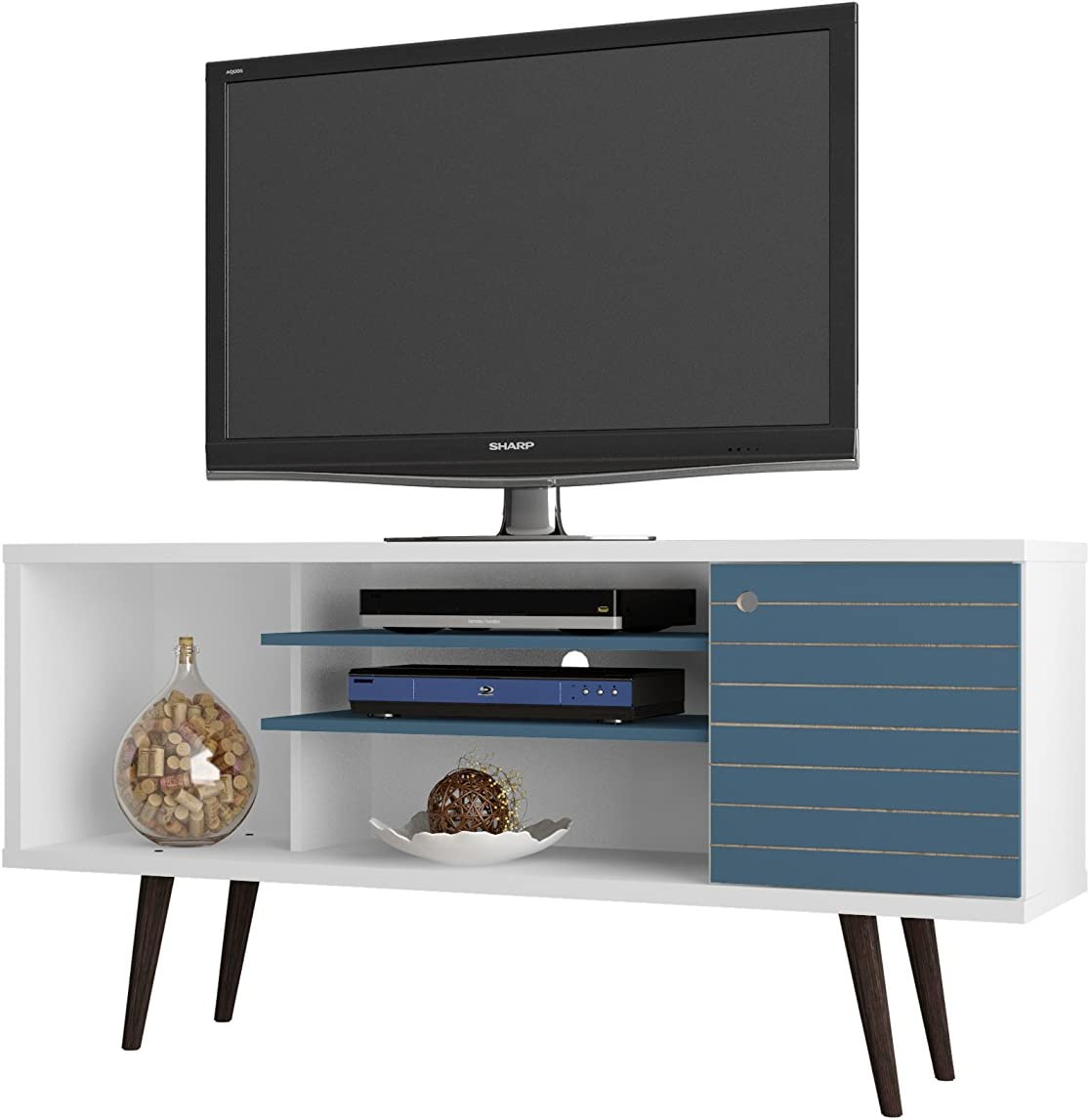 Manhattan Comfort Liberty Collection Mid Century Modern TV Stand With One Cabinet and Two Open Shelves With Splayed Legs, White/Blue