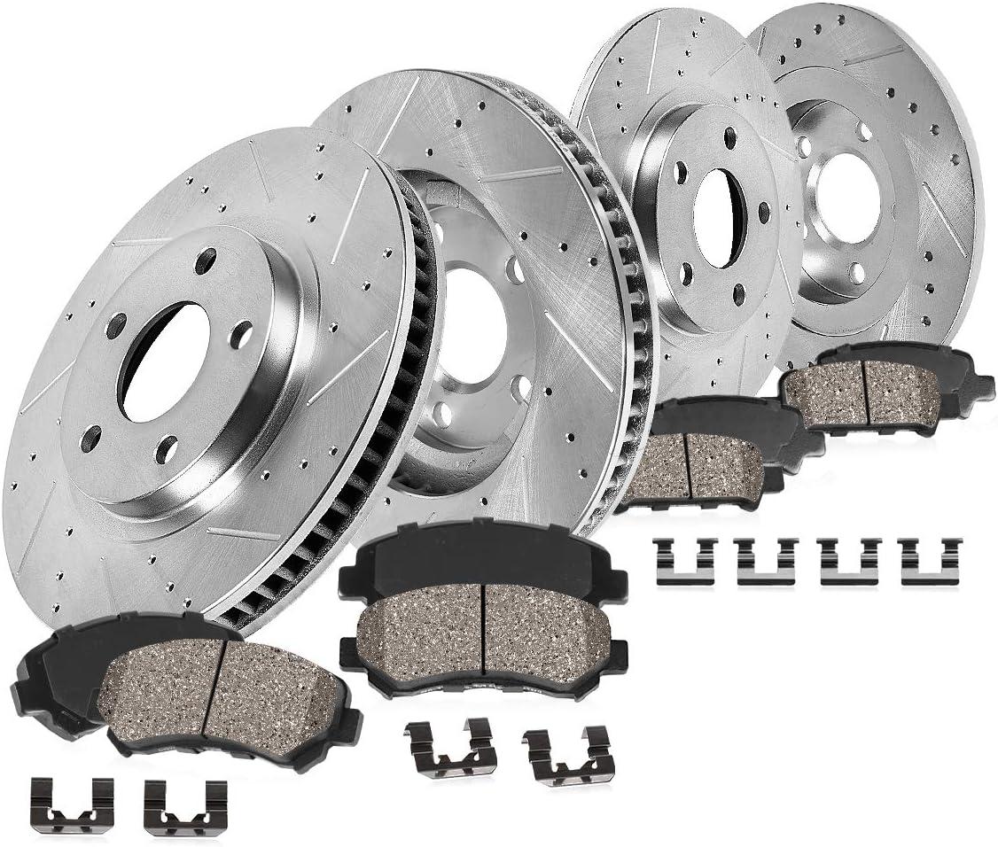 Jeep Nitro Liberty Front Rear Drill Slot Brake Rotors+Ceramic Pads Fits Dodge