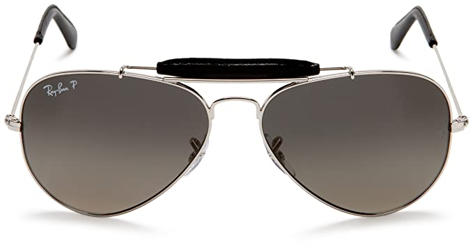 b56fd1d16a Ray-Ban AVIATOR CRAFT - SHINY SILVER Frame CRYSTAL POLAR GRADIENT GRAY  Lenses 58mm Polarized  Amazon.in  Clothing   Accessories