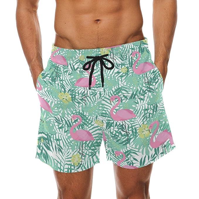 COOSUN Flamenco rosado y hojas de palmera playa pantalones cortos de secado  rápido Swim Trunk  Amazon.es  Ropa y accesorios 2fb99242537
