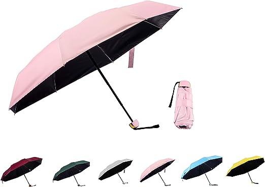 Sun UV Umbrella Blue Windproof Travel Sun And Rain Umbrella Light Compact Parasol UV Protection 7 umbrella for Men and Women