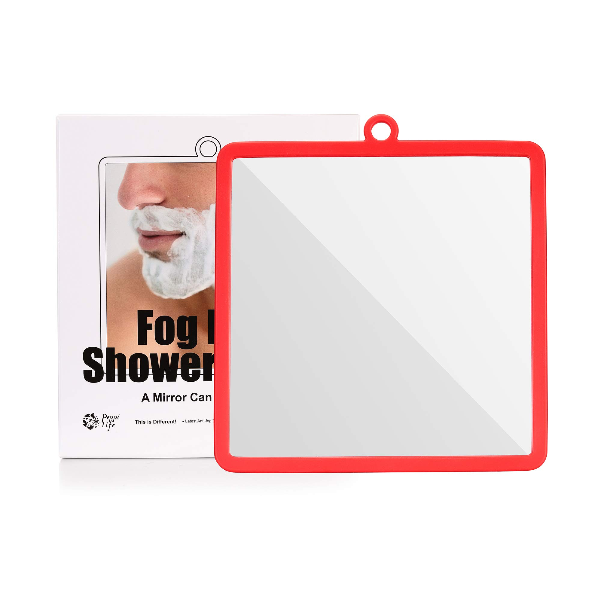 Fogless Shower Mirror with Protective Silicone Sheath for Shaving and Make-up,New Nano Fogless Technology That Real Works, Multi-Colors Option (red)
