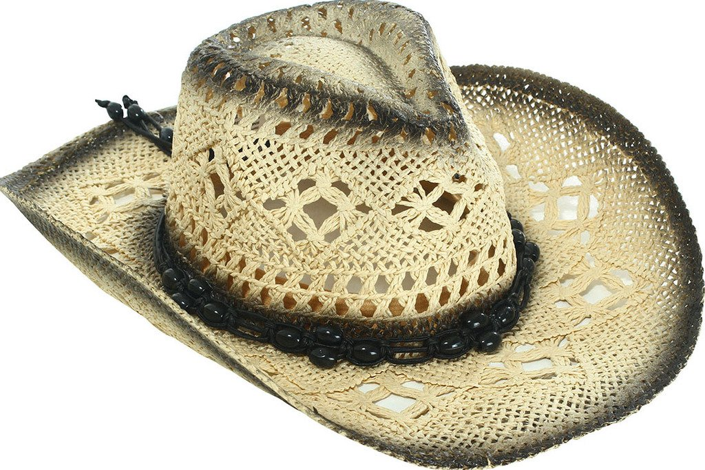 TAUT Unisex Woven Straw Ranch Cowboy Hat with Shapeable Brim Gradient_Black
