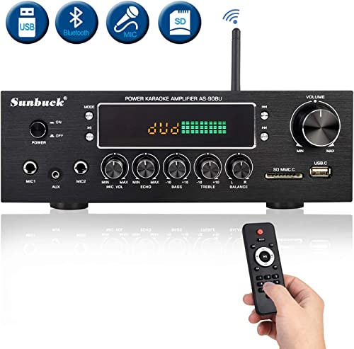 Wireless Bluetooth Home Audio Amplifier 400W Dual Channel Home Theater Sound Compact Stereo Receiver System w FM Radio, USB SD, AUX, RCA, Mic in, Remote Control for Sweet Sound. Sunbuck AS-90BU