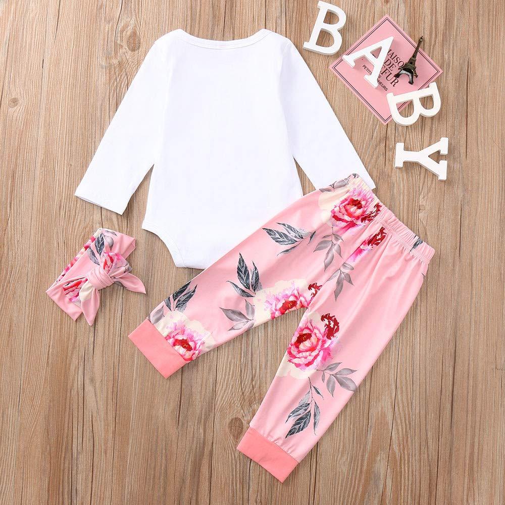 Newborn Fall Winter Outfits Set Infant Baby Girls Letter Print Romper Bodysuit Floral Pants