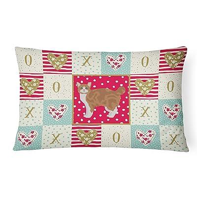 Caroline's Treasures CK5647PW1216 Manx #2 Cat Love Canvas Fabric Decorative Pillow, 12H x16W, Multicolor : Garden & Outdoor