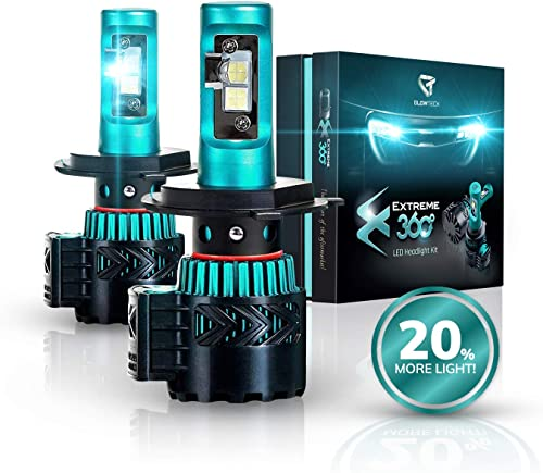 Glowteck LED Headlight Bulbs Conversion Kit - H4 (9003) Cree XHP50 Chip 12000 Lumens/Pair 68 Watt 6500 Kelvin