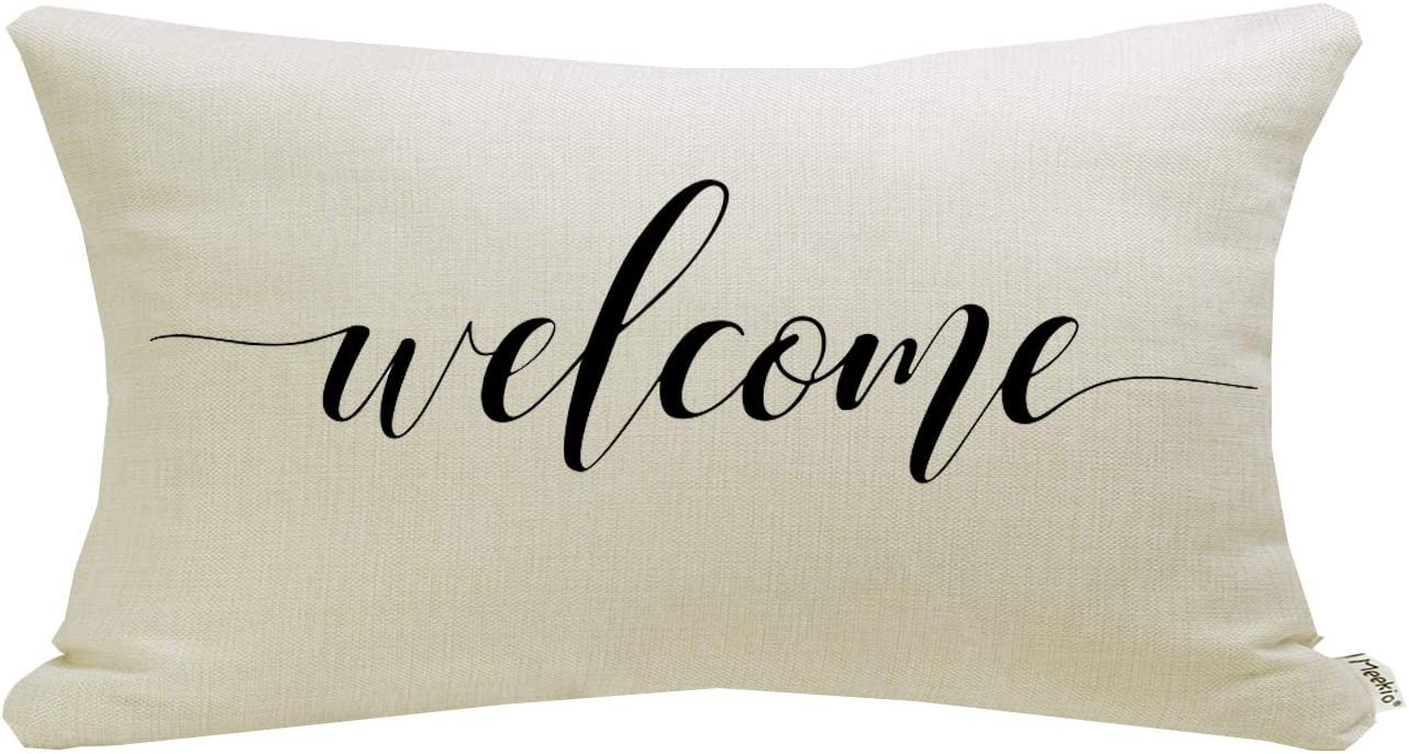 Meekio Farmhouse Pillow Covers with Welcome Quote 12 x 20 inch Farmhouse Rustic Décor Lumbar Pillow Covers with Saying Housewarming Gifts Family Room Décor