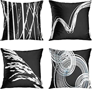 Taysta Pack of 4 Throw Pillow Covers Cases Silhouette Nature Swirls Reverse Black White Soliloquy Reverse Intertwined Decorative Square Pillowcase Cover Case Cushion Home Decor 16 x 16 Inches