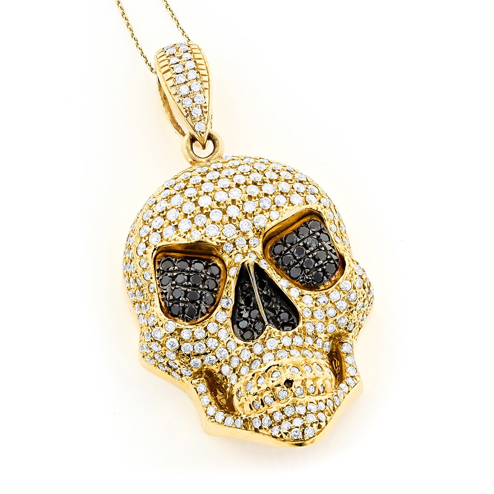 White & Black CZ Diamond 14k Yellow Gold Plated Skull Pendant - DeluxeAdultCostumes.com
