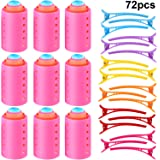 72 Pieces Magnetic Rollers Set 54 Pieces Plastic Hair Rollers and 18 Pieces Multicolor Plastic Duck Teeth Bows Hair Clips Hairdressing Curlers Tools for Men, Kids, Women