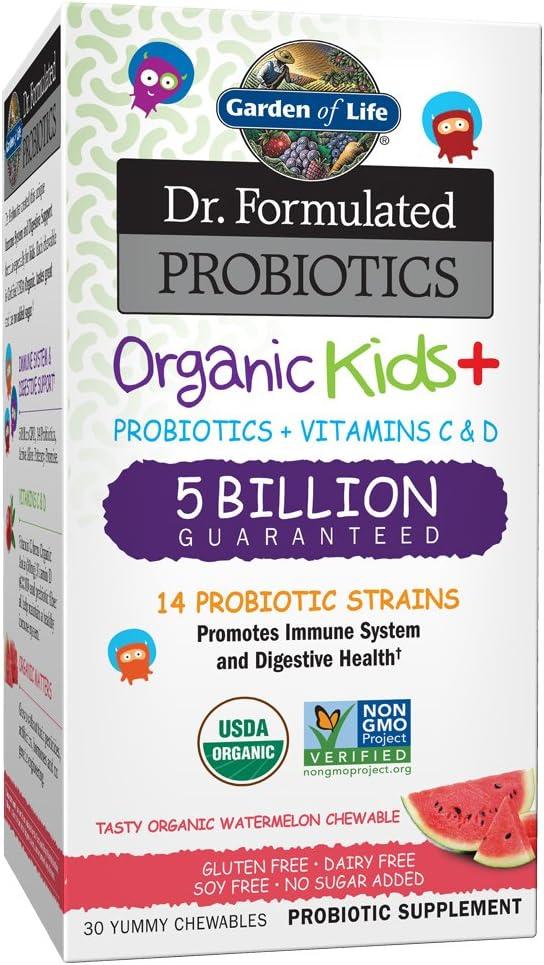 Garden of Life Dr. Formulated Probiotics Organic Kids+ plus Vitamin C & D - Watermelon - Gluten, Dairy & Soy Free Immune & Digestive Health Supplement, No Added Sugar, 30 Chewables (Ships Cold)