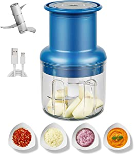Electric Food Chopper, Mini Veggie Chopper, Rechargeable Pepper Blender, Wireless Small Food Processor, Powerful Garlic Mincer for Garlic/Chili/Vegetables/Onions/Pepper/Ginger/meat, 300ML (Blue)