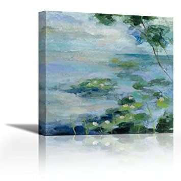 Canvasartcenter Lily Pond Ii Fine Art Print On Canvas Home Décor Paintings For Living Room Paintings For Bedroom Gallery Wrap Style 12 X 12 Inch Amazon In Home Kitchen