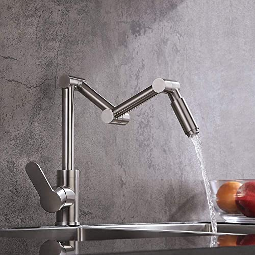 KunMai Stainless Steel Pot Filler Faucet Deck Mounted Kitchen Sink Faucet in Brushed Nickel Commercial Single Handle One Hole Articulating Pot Filler