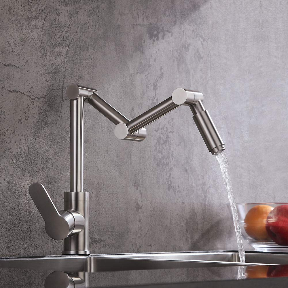 KunMai Stainless Steel Deck Mount Pot Filler 1-Handle 1-Hole Articulating Kitchen Sink Faucet in Brushed Nickel