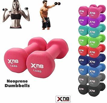 Juego de mancuernas de neopreno de Xn8 Sports, de 1 kg, 2 kg,