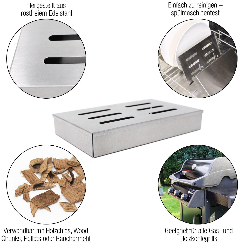Amazy Caja Ahumadora de Acero Inoxidable - Caja de ahumado para darle a su carne el sabor tradicional de la barbacoa americana: Amazon.es: Jardín