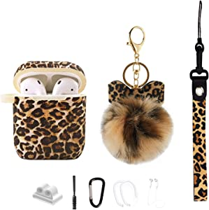MOLOVA Case for Airpods 1&2 Case,Leopard Airpod Case with Pompom and Strap Compatible with AirPods 2/1,Full Protect Silicone Skin Cover with Fur Ball Keychain for Women Girls Teen