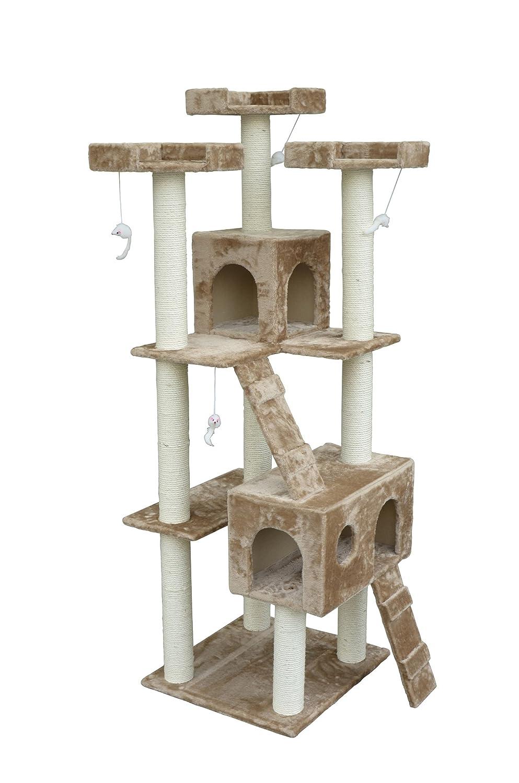 pawhut inch cat tree furniture pet tower house with scratch  - pawhut inch cat tree furniture pet tower house with scratch post andcondo beige amazonca pet supplies
