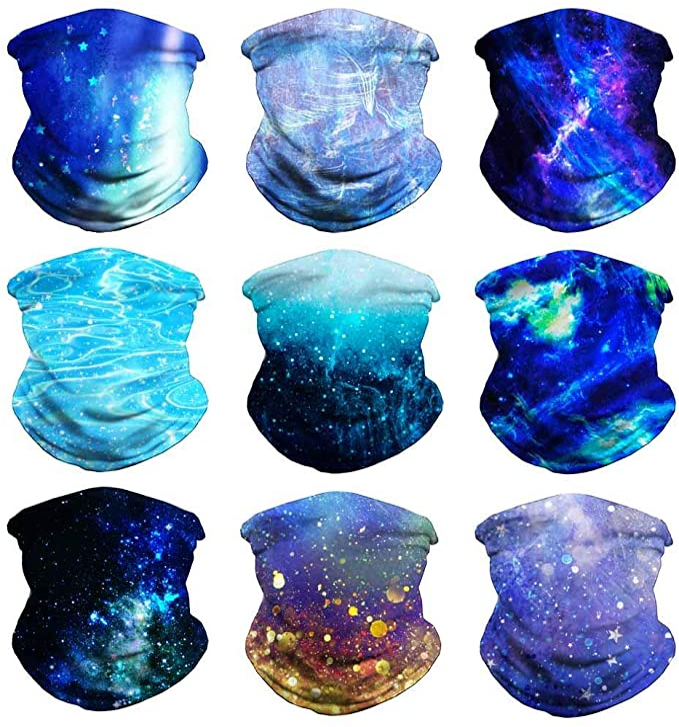 Headband Face Bandana Head Wrap Scarf Neck Warmer Headwear Balaclava for Sports (9PCS Blue) at Amazon Men's Clothing store
