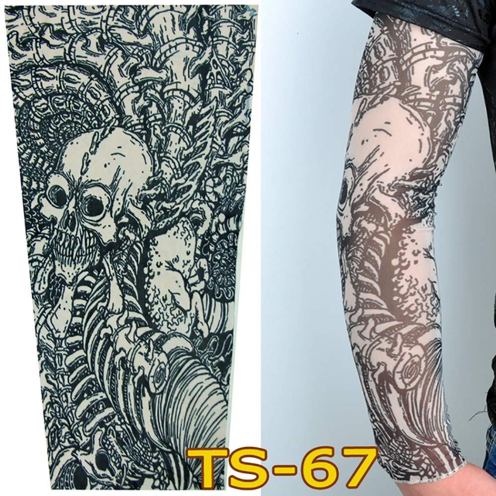 1Pc Unisex Nylon Elastic Temporary Tattoo Sleeve Body Arm Stockings UV Protection Tattoo Arm Sleeves for Men Cover up Stretchable Cosplay Costume Accessories for Men & Women (C)