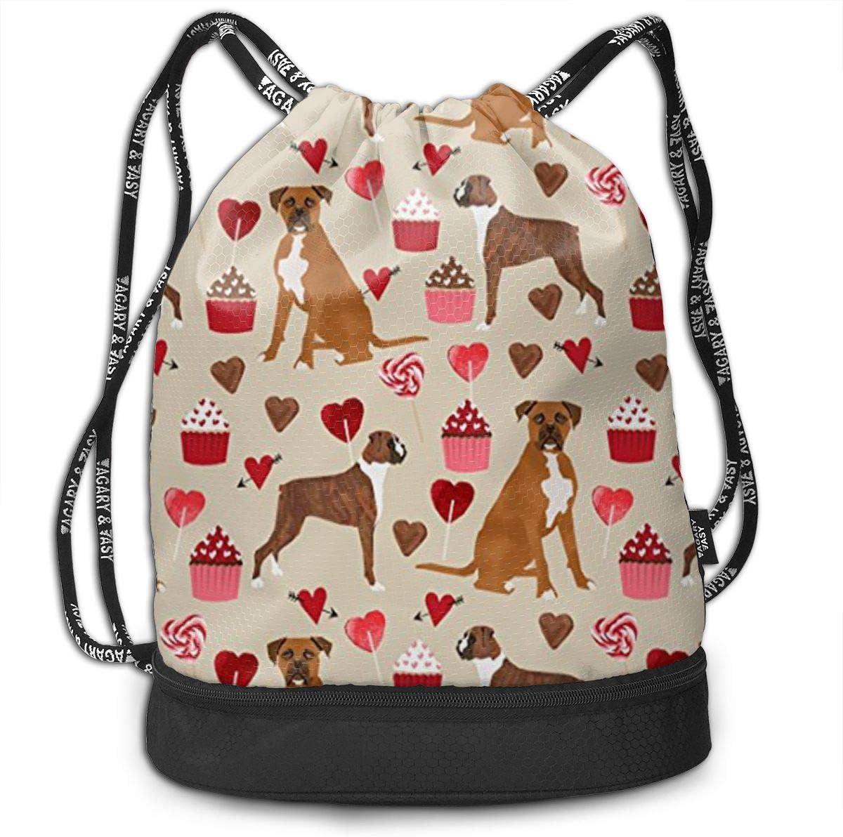 Boxer Dog Valentines Love Cupcakes Multifunctional Bundle Backpack Shoulder Bag For Men And Women