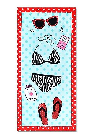 DSstyles Toalla de Playa Gran Toalla de Baño Microfibra Para Natacion Yoga y Spa - Bikini Azul: Amazon.es: Hogar