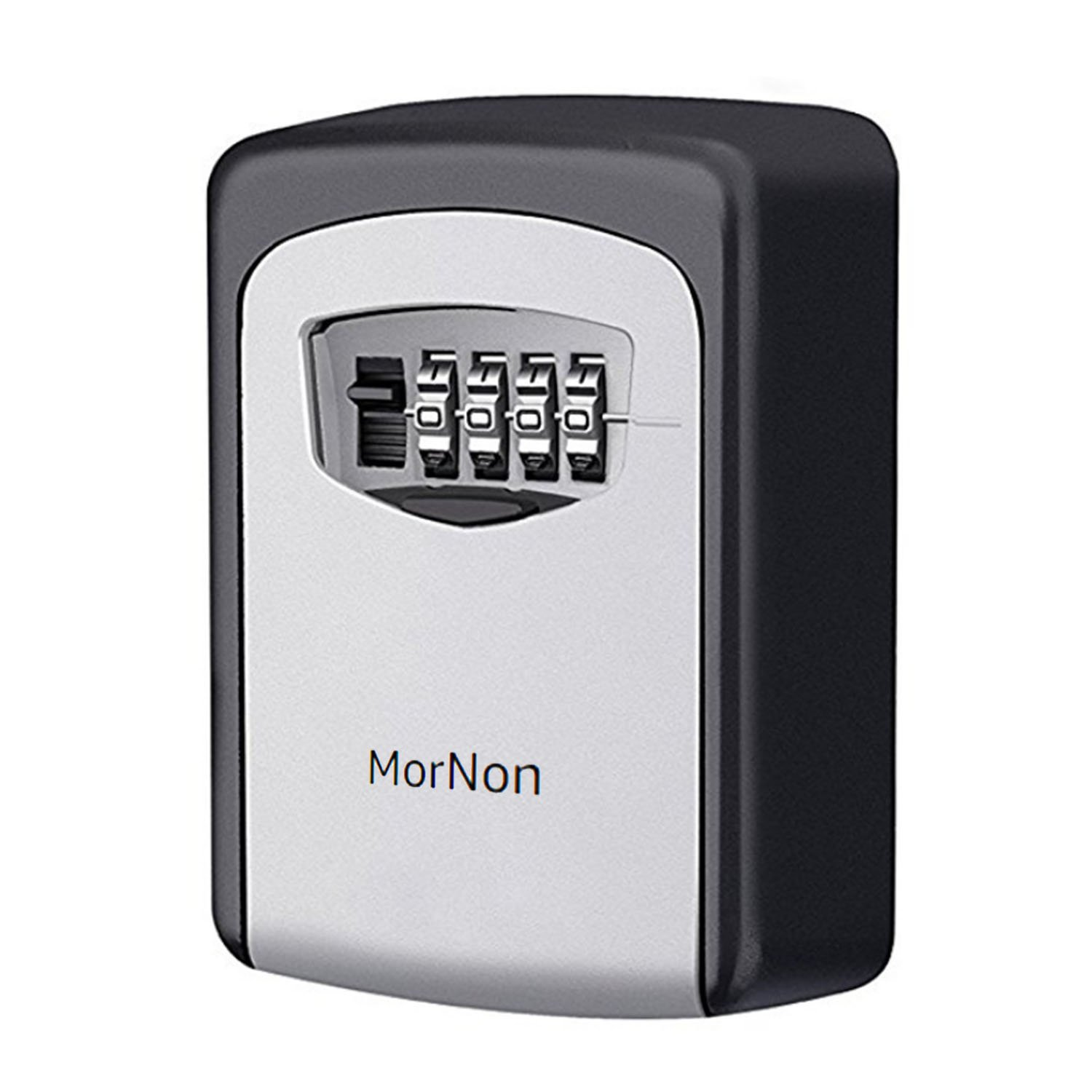 MorNon Key Storage Lock Box 4-Digit Combination Lock Safe Box Resettable Code Wall Mounted Lock Box Grey