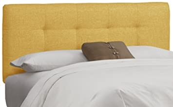 skyline furniture tufted headboard queen linen french yellow