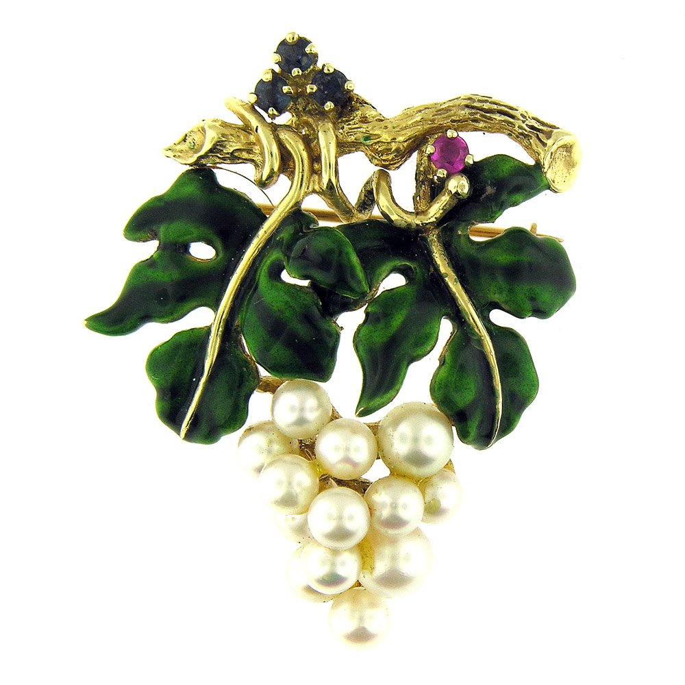 18 Kt Yellow Gold Pearl Grapes Sapphire Ruby Enamel Antique Style Brooch Pin by Esmeralda Jewels