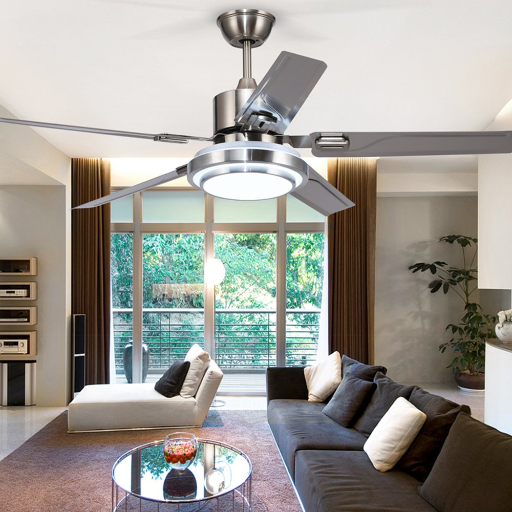 Andersonlight 48-Inch Contemporary LED Ceiling Fan 5 Stainless Steel Blades and Remote Control 3-Light Changes Indoor Mute Energy Saving Fan Chandelier for Home Decoration