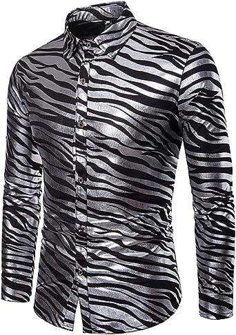 Camisas para Hombres Moda Casual Clásico Impresión de Rayas de Cebra Oro Dorado Manga Larga Camisa Joker Simple: Amazon.es: Ropa y accesorios