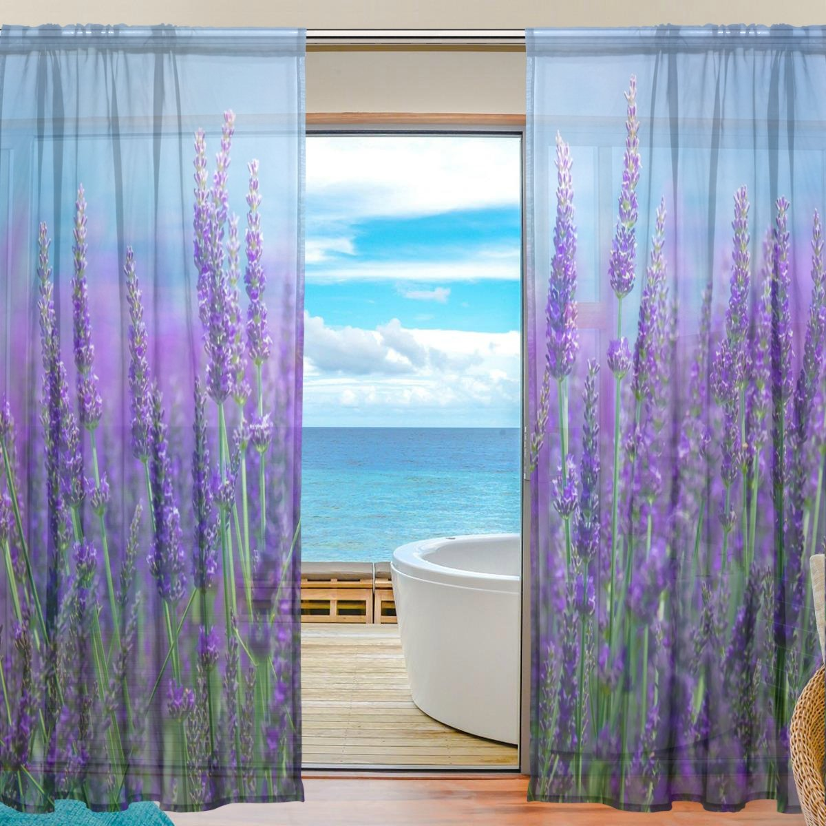 Amazon.com: XMCL Sheer Curtains Window Purple Flower Lavender Field ...