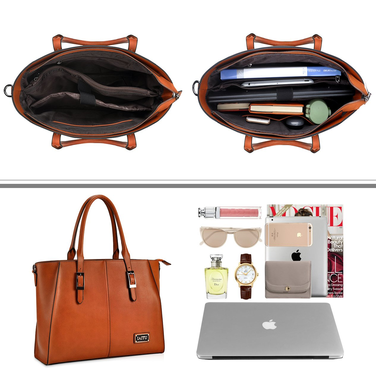 IAITU Laptop Tote Bag,15.6 Inch Crossbody Laptop Bag Casual Work Business Handbag with Smooth Zipper for Women(Brown) by IAITU (Image #3)