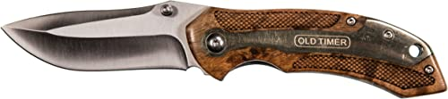 Old Timer 901OT 7.32in High Carbon S.S. Assisted Opening Knife with 2.9in Drop Point Blade and Ironwood Handle for Outdoor, Hunting, Camping and EDC