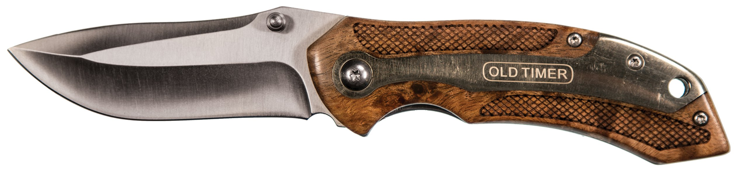 Old Timer 901OT 7.32in Stainless Steel Assisted Opening Knife with 2.9in Drop Point Blade and Ironwood Handle for Outdoor Hunting Camping and Everyday Carry