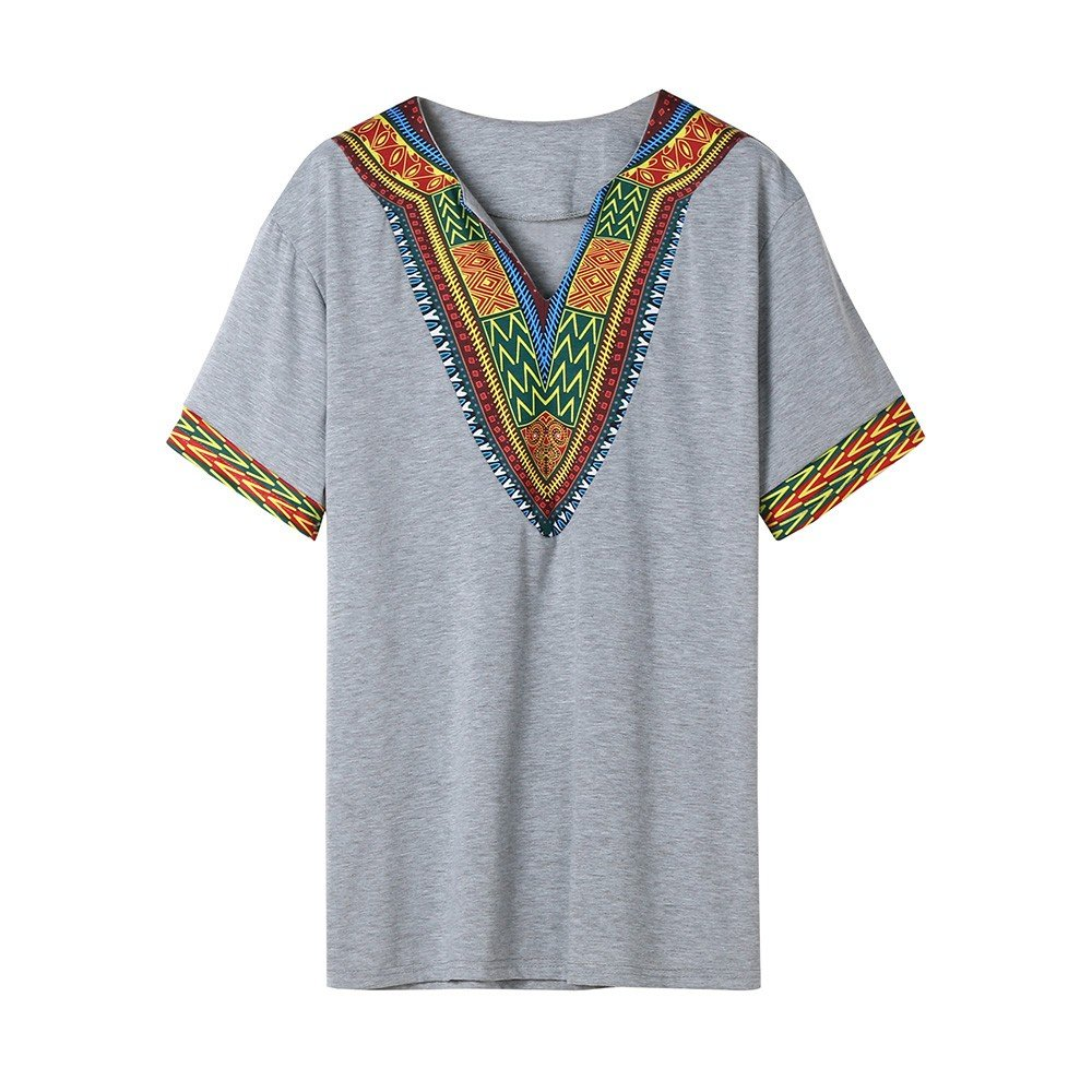 Winsummer Men Dashiki Shirts African Print Summer Short Sleeve Graphic Tops V Neck Fashion T-Shirt Tee Gray