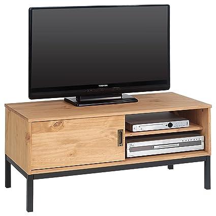 IDIMEX Meuble TV Selma Banc télé de 98 cm au Style Industriel Design  Vintage avec 1 Porte coulissante et 1 Compartiment Ouvert, en pin Massif  teinté ...