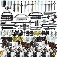 ColiCor 80 st vapen set anpassade medeltida vapen rustning och sköld set för riddare, kompatibel med lego