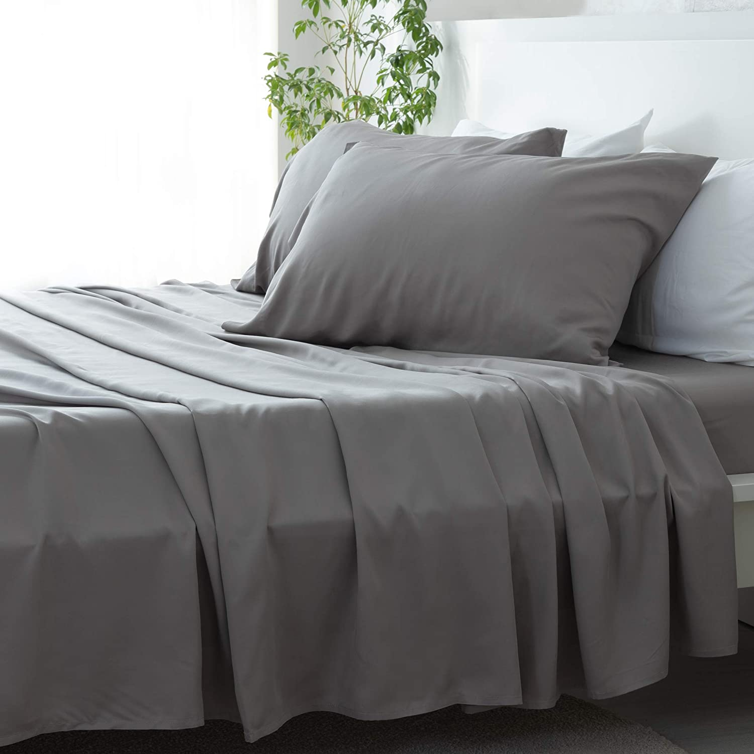David's Home Pure Bamboo Sheets Set Twin Size Grey, 100% Bamboo Cooling Sheets Set with Deep Pocket, Silky Soft and Breathable Bedding Sheets Set, 4PCS , Hypoallergenic