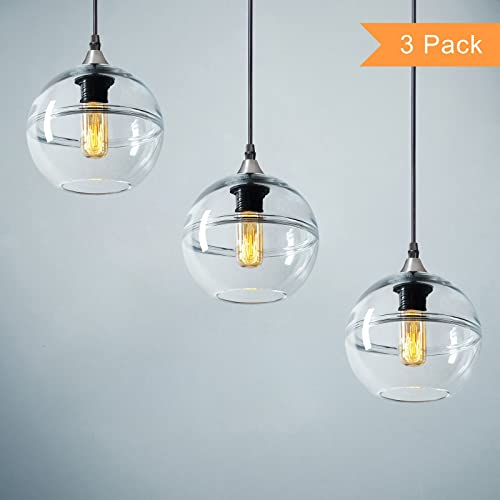 Casamotion Pendant Lighting Handblown Glass Drop Hanging Light, Unique Optic Glass Pendant Lamp, Brushed Nickel Finish, Clear, 7 , 3-Pack