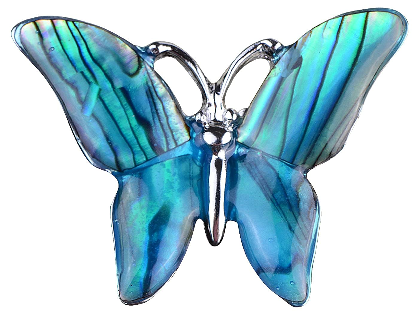 Alilang Small Watermarks Glossy Abalone Shell Winged Butterfly Silvery Tone Pin Brooch B1082