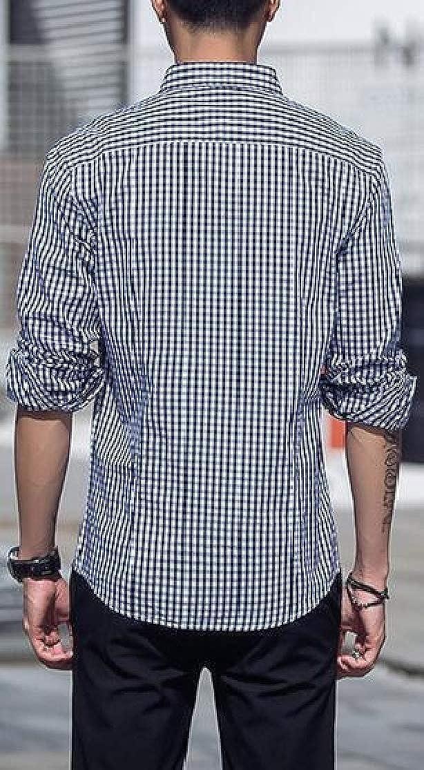 Cromoncent Men Top Business Coat Button-Down Slim Plaid Long-Sleeve Shirt