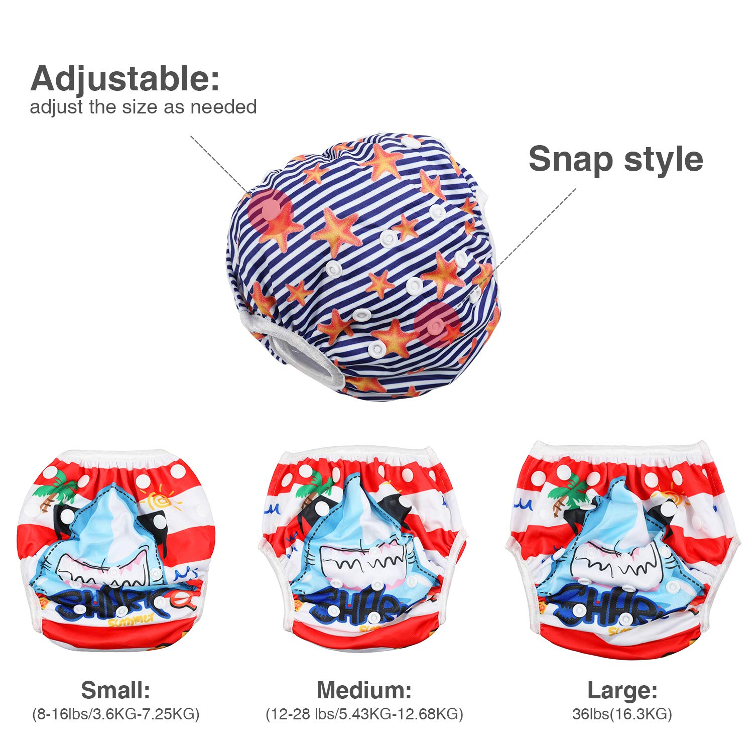 Reusable Swim Nappy Swimming Pants Adjustable Baby Swimwear Fits for 0-3 Years Old Baby Weighs 8-36lbs//3.6-16.3kg Mermaid and Beach Starfish Design Lictin Swim Diaper