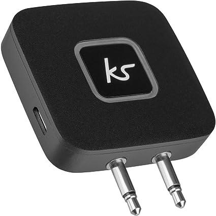 49e33af626b KitSound Bluetooth Wireless Airline Plane Music Transmitter Receiver Adaptor  - Black