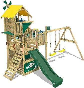 WICKEY Parque infantil de madera Smart Engine con columpio y tobogán verde, Casa de juegos de jardín con arenero y escalera para niños: Amazon.es: Bricolaje y herramientas