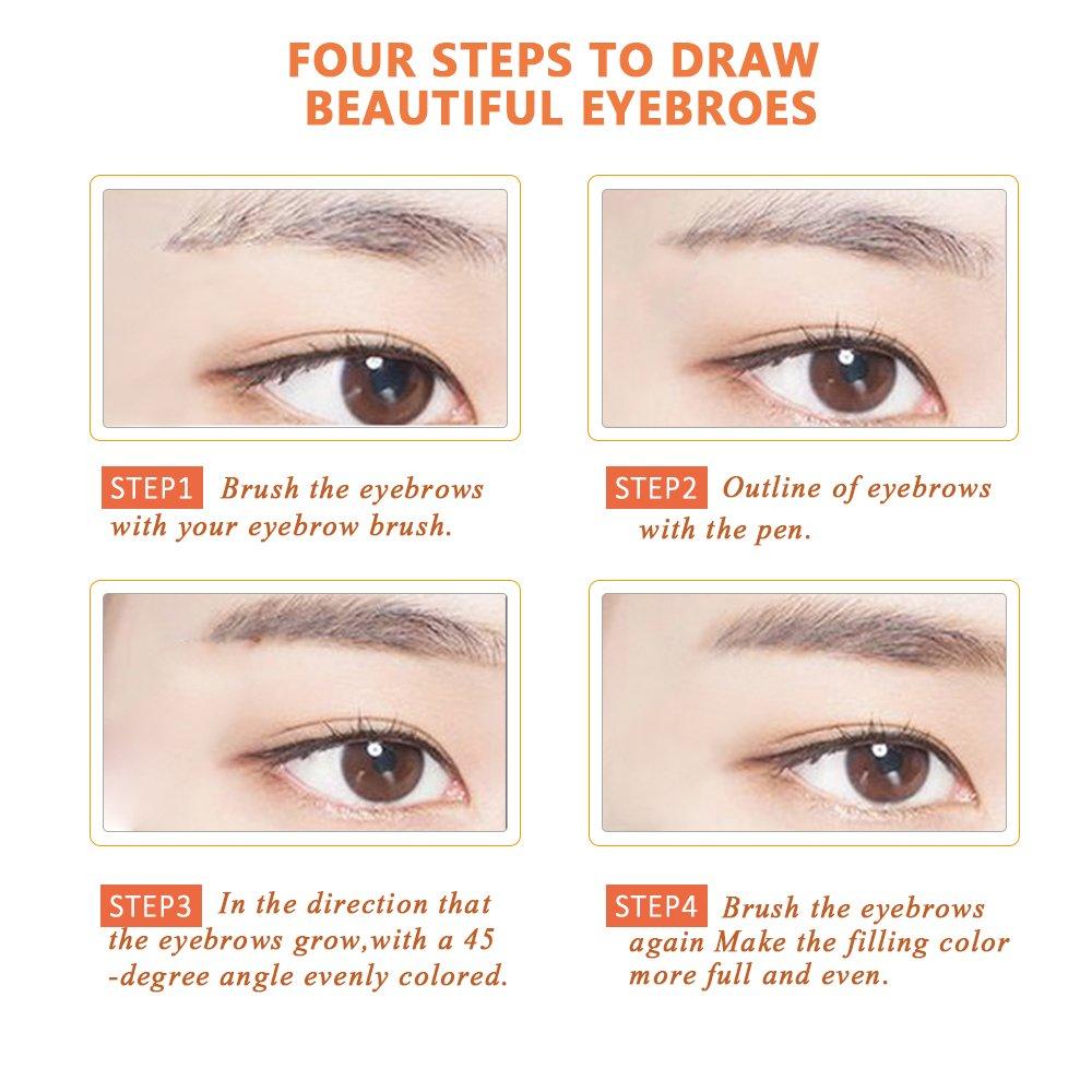 Amazon com liquid eyebrow pen long lasting tint dye cream 24 hours waterproof tattoo eyebrow pen for eyebrow make up with 4 tips 02 brown beauty