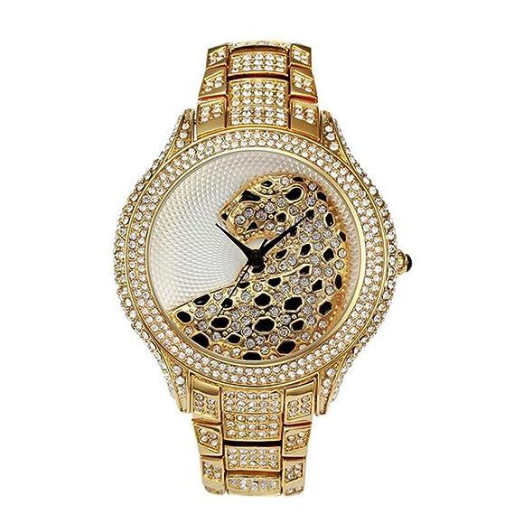 Sheli Reloj Especial Grande del Metal Plateado Oro Bling Dial Característica Leopardo de las Mujeres,