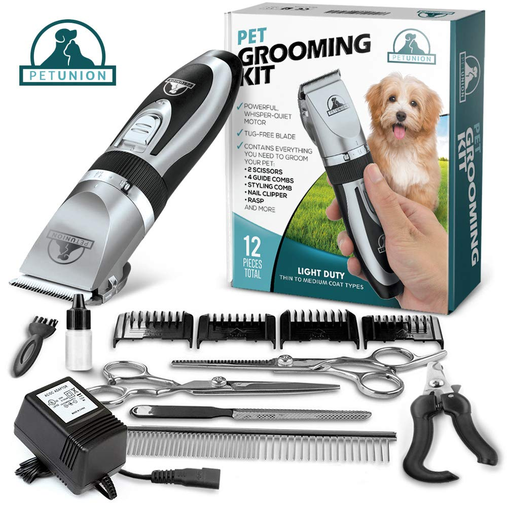 Pet Union Professional Dog Grooming Kit - Rechargeable, Cordless Pet Grooming Clippers & Complete Set of Dog Grooming Tools. Low Noise & Suitable for Dogs, Cats and Other Pets (Chrome) by Pet Union